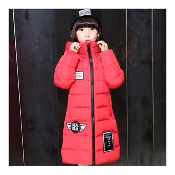 Winter Thick Warm Slim Middle Long Girl Down Coat   red   130cm
