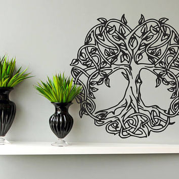 Tree of Life Wall Decal, Tree of Life Wall Sticker, Celtic Tree of Life Wall Decor, Circle of Life Decal Kabbalah Yoga Studio Decor se031