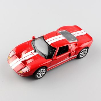 1:36 Scale brand small Ford GT 1 mustang Sport die casting race Automotive car pull back model Engine toy gift for children red