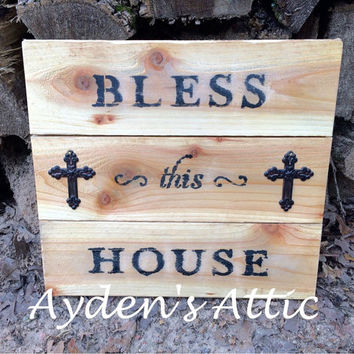 Bless This House cedar wood sign. Christian decor. Cross decor. Cedar wall hanging. Custom wall hanging. Housewarming gift. Rustic home