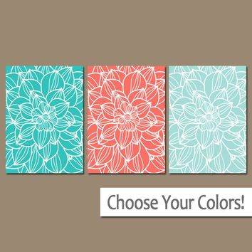 Coral Turquoise Aqua Wall Art, CANVAS or Prints, Coral Bathroom Decor, Matching Bedroom Pictures, Flower Dahlias, Set of 3, Nursery Decor