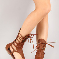 Liliana Strappy Lace Up Gladiator Flat Sandal