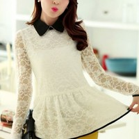 Kawaii Lolita Hollow Out Lace Polo Collar Long Sleeve Top - Black, White, Red or Green . M L XL XXL from Tobi's Finds