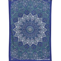 Blue & White Twin Indian Star Mandala Hippie Dorm Decor Tapestry Wall Hanging Art - RoyalFurnish.com