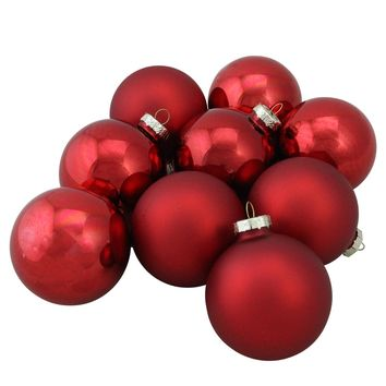 """9-Piece Shiny and Matte Red Glass Ball Christmas Ornament Set 2.5"""" (65mm)"""