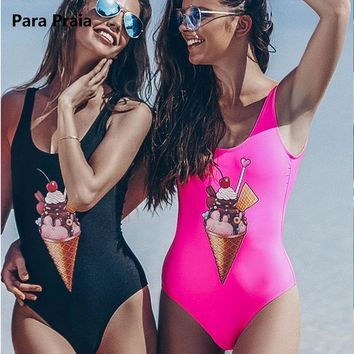 Summer Ice Cream Backless Bodysuit Women One Piece Swimsuit Push up Swimwear Monokini Thong Bathing Suit for Women Swimming Suit