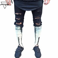 Ripped Patchwork Zipper Jeans Mens Hit Color Skinny Jeans Beggar Style Attrit Holes Men Jeans Locomotive Jeans