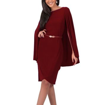 Women Cape Dress Slim Novelty Patchwork OL Formal Dress To Party Harri Potter Style Big Cloak Dresses Fake Designer Clothes