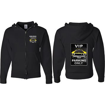Ford Mustang Full Zip Hoodie Boss 302 VIP Parking Front and Back