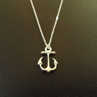 simple anchor sterling silver necklace