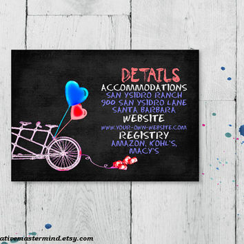 DIY Detail Card Template, Digital Download, Editable Printable, Instant Download, Chalkboard Tandem Bicycle for Two, #1CM82-1