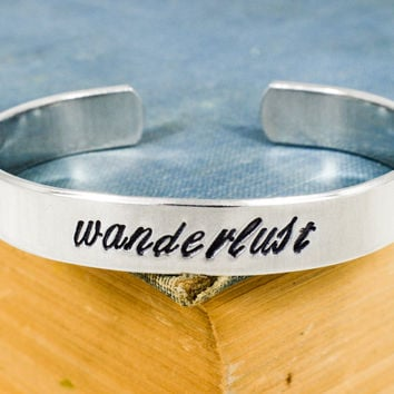 Wanderlust Script Bracelet - Compass- Travel - Adventure - Adjustable Aluminum Cuff Ring