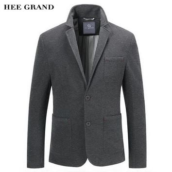 HEE GRAND Men Casual Blazer 2018 New Arrival Whole Cotton Material Single Breasted Spring Autumn Solid Color Suit MWX387
