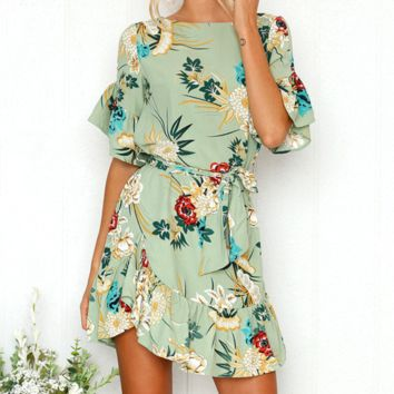 Fashion New Floral Print Short Sleeve Dress Women Light Green