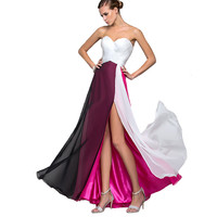 Women Floor Length dress Slim Fashion Summer Maxi Long Off Shoulder Dresses Party Club Vestidos Strapless Patchwork Hot 2016
