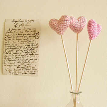 Crochet Hearts on Wooden Sticks Romantic  Photo Props Custom Colors Spring Wedding by Cherrytime