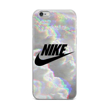 Nike Logo Retro Psychedelic Holo Iridescent iPhone Case Trendy Clouds iPhone X, 5/6/7/8 Case, 6+/7+/8+ Case