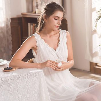 Princesse Nightgown Sleeveless Home Wear Dress Long Sleepshirts Cotton Sleepwear Loose White Vintage Negligee Nightdress