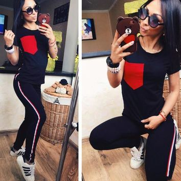 Black Patchwork Pockets 2-in-1 Sewing Mid-rise Fashion Long Jumpsuit