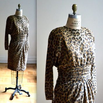 VIntage Metallic Leopard Print Dress By Ann Lawrence size Medium
