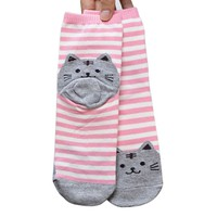 kingfansion 3D Animals Striped Cartoon Socks Footprints Cotton Floor Socks