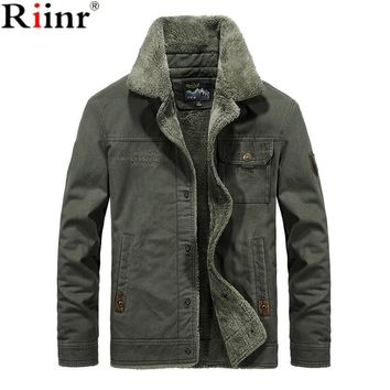 Riinr New Hot Winter Bomber Jacket Men Air Force Pilot MA1 Jacket Warm Male fur collar Army Jacket tactical Mens Jacket Size 6XL