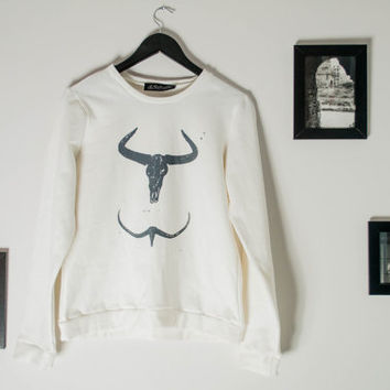 The Horns sweatshirt, Skull horns sweater, White blouse, Black and White sweatshirt