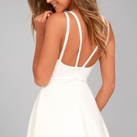 Love Galore White Skater Dress