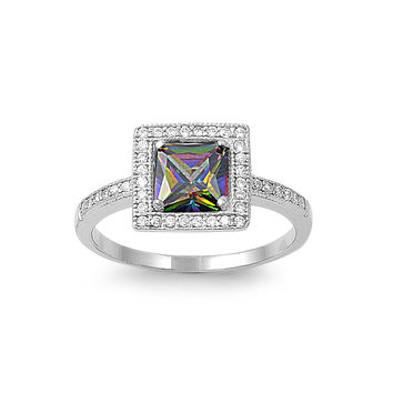 925 Sterling Silver CZ Embraced Square Simulated Mystic Topaz Ring 10MM