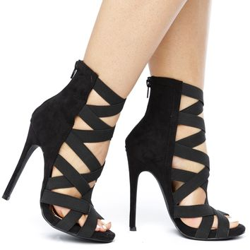 CAGNEY CAGED SUEDE BOOTIE -  BLACK