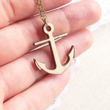 Anchor Necklace - Nautical Necklace - Nautical Jewelry - Wood Necklace - Woodland - Eco- friendly- FREE SHIPPING