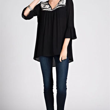 Jacquard Contrast Top - Black