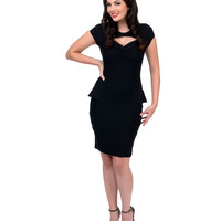 Black Peplum Emma Stretch Wiggle Dress