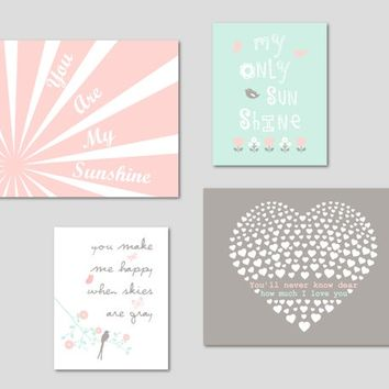 You Are My SUNSHINE Wall Art Chic Baby Girl Best Wall Decor Gift, Pink Mint Gray Prints or CANVAS, Set of 4