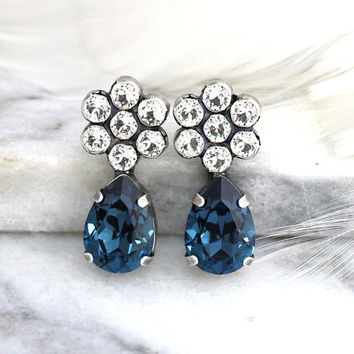 Blue Navy Earrings, Dark Blue Earrings, Bridal navy Blue Earrings, Blue Navy Stud Earrings, Swarovski Crystal Earrings, Bridesmaids Earrings