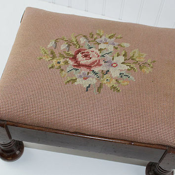 Antique Needlepoint Mahogany Footstool, Vintage Foot Rest,