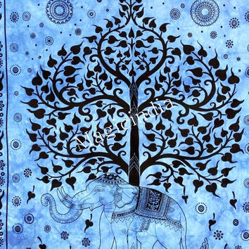 Hippie Elephant Tapestry,  Indian Mandala Tapestries Tree Of Life Tapestries,Elephant Wall Tapestries Tapestry Wall Hanging, Indian Tapestry