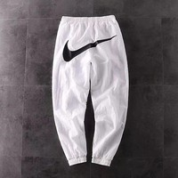 NIKE BIG SWOOSH Series Summer Woven Casual Pants Black White