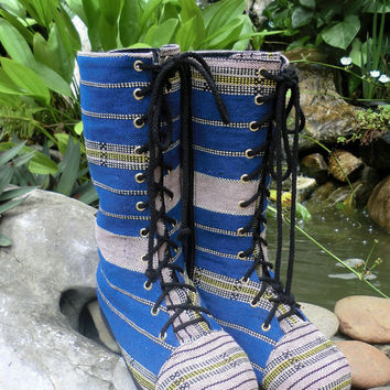 Womens Boho Boots Blue Ethnic Karen Handwoven Mid Calf Lace Up Boho Boots - Britta Combat Boots