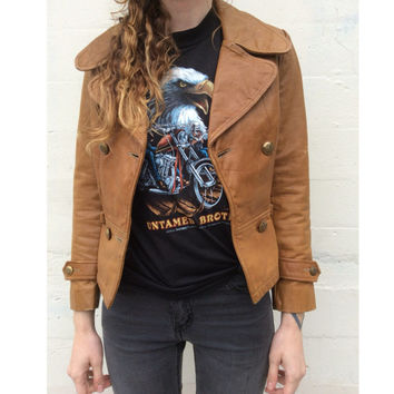 70s Tan Leather Jacket - Cropped Leather Jacket - 1970s - Size Small - Great Things - Boho Bohemian - Womens Leather Jacket - Vintage