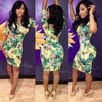 Yellow and Green Floral Bodycon Dress