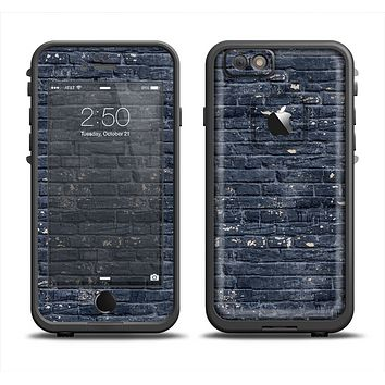 The Grungy Dark Blue Brick Wall Apple iPhone 6 LifeProof Fre Case Skin Set