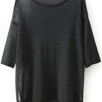 Black Drop Shouldered Knitted Blouse