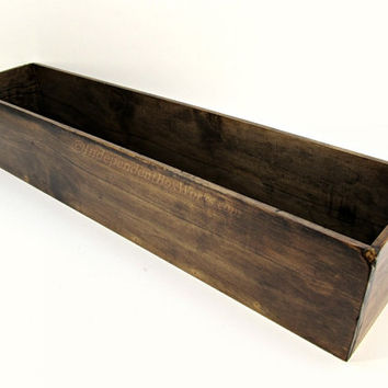 Rustic Long Wooden Centerpiece Box - Wide Dark Walnut Stained Wood Box - Deep Flower Box, Aged Kitchen Table Box, Dining Tabletop Decor