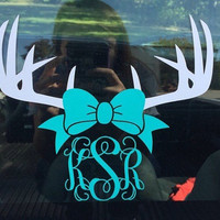Deer Antler Monogram |  Antler Monogram Decal | Browning Decal | Browning Car Decal |  Car Decal |