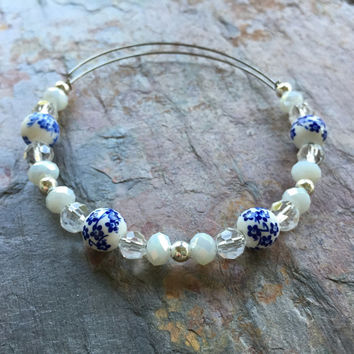 Porcelian Romance // Adjustable Beaded Bangle Bracelet // Alex and Ani Style
