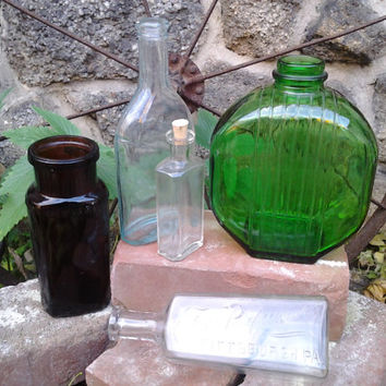 Apothecary medicine glass bottles jars antique lot of 5 instant collection Pittsburgh Pa