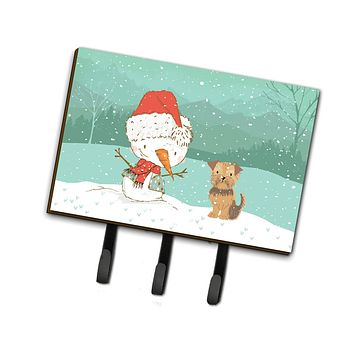 Yorkie Natural Ears Snowman Christmas Leash or Key Holder CK2099TH68