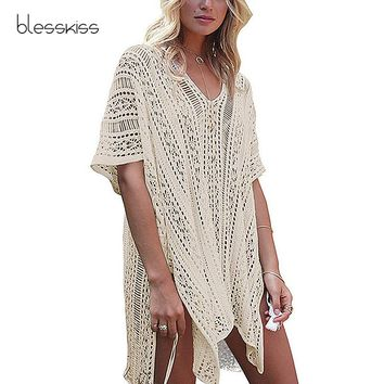 Knitted Tassel Beach Cover Up Women Tunics Swimsuit 2018 Cover Up Bikini Swimwear Sarong Pareo Beach Dress kaftan Beachwear