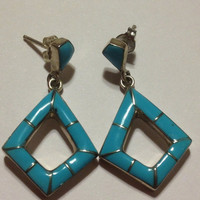 ON SALE Yazzie Turquoise Sterling Earrings Navajo Silver 925 Blue Sleeping Beauty Inlay MY Genuine Vintage Tribal Southwestern Jewelry